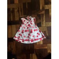 Vestido branco  TAM G com detalhes em vermelho e rosa. - 9 a 12 meses - Tip Top
