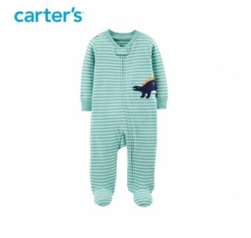 Macacão ou Pijama Listrado Dinossauro Carter´s - 0 a 3 meses - Carter`s