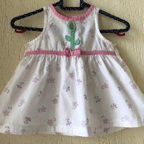 Vestido branco com flores - 3 meses - Alphabeto