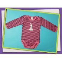 Body rosa com listra azul de coelho - 9 a 12 meses - Best Club