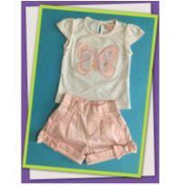 Conjunto de borboleta rosa - 3 a 6 meses - Alô bebê