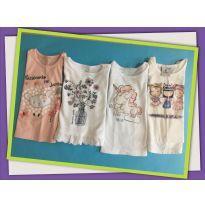 Kit de 4 blusinhas de manga comprida - 9 a 12 meses - Poim