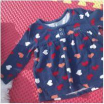 Blusa Azul de Coração - 9 a 12 meses - PUC