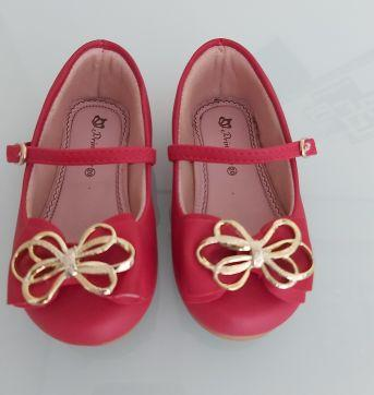 Sapato vermelho com laço dourado - 20 - Princesinha Kids