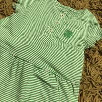 Conjunto Calça Jeans e Blusa Verde - 12 a 18 meses - Carter`s