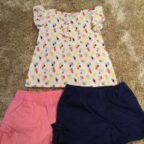 Conjunto camisa de bolinha colorida shorts azul e rosa - 3 anos - Carter`s