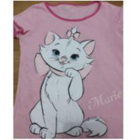 camiseta rosa gata marie disney - 5 anos - Disney