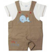Jardineira Bordado Golfinho - Bege - 3 a 6 meses - Baby Gijo