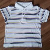 Blusa polo branca listrada amarelo azul e preto manga curta Est. 1989 - 3 anos - Est. 1989