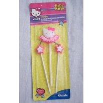 Vela de Aniversário Hello Kitty com Parabéns e 02 velas estrelinhas Pavio Mágico -  - Velarte
