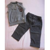 Muito estilo! Conjunto Colete e calça jeans - Nankin- Tam M - 3 a 6 meses - Nankin
