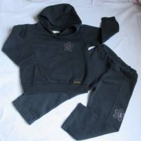 [Kids&Co] Conjunto de Moleton para o frio! Detalhe de flor rosa - 18 a 24m - 18 a 24 meses - Kids Company