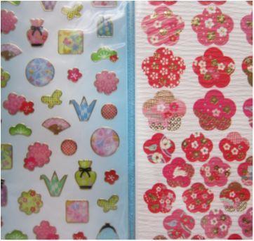 [Novo] 2 cartelas de adesivos decorados!! Estampa oriental, detalhes dourados! - Sem faixa etaria - Daiso Japan