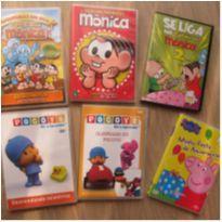6 DVDs Intantis - Diversão Total - 3 Turma da Mônica, 2 Pocoyo e 1 Peppa. -  - DVD