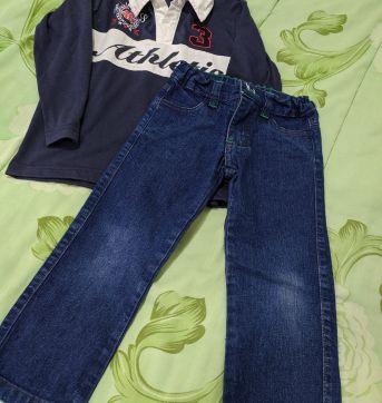 Dupla calça jeans e pólo - 4 anos - Várias