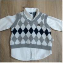 Camisa Importada com colete em Tricoline Inglaterra - 3 a 6 meses - Zoo Baby e Imports Baby