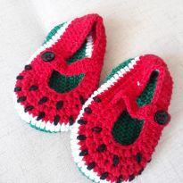 Sapatilha Croche Bebê Melancia - 13 - Não informada