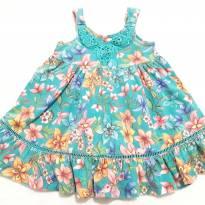 Vestido Azul Floral - 18 meses - momy