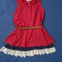 Vestido Vermelho com cinto - 6 anos - Fuzarka