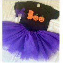 Fantasia Halloween Roxa Bruxinha - 9 a 12 meses - Não informada