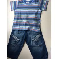 Conjunto calça jeans e camisetinha listrada T2 - 12 a 18 meses - Tilly Baby