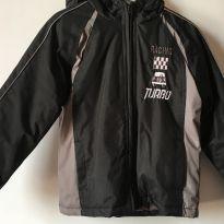 Jaqueta em nylon forrada preto e cinza com capuz - 4 anos - Não informada