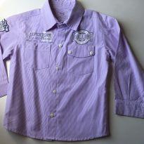 Linda camisa branca e lilas listradinha com bolsos - 3 anos - Não informada