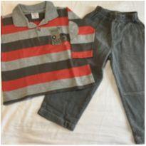 Conjunto Calça Black Jeans e Polo Manga Longa By Tilly - 18 a 24 meses - Tilly Baby