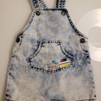 Jardineira jeans da Alphabetinho (3 a 6 meses) - 3 a 6 meses - Alphabeto