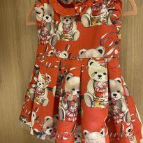 Vestido festa ursinhos cetim - 12 a 18 meses - Pituchinhus