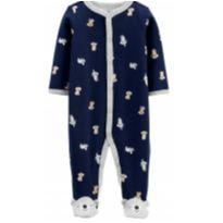Macacão Carter`s Coala Azul-marinho Bebê com Botões e Pezi - 3 meses - Carter`s