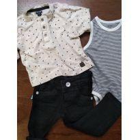 Conjunto calça jeans, camisa e body regata - 9 a 12 meses - Não informada e Kiabi Baby