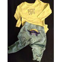 Body Super Cute e Calça de Dinossauro - 9 a 12 meses - Carter`s
