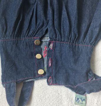 Vestido jeans bordado - 3 anos - Não informada