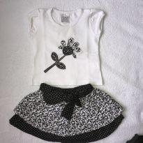 Conjunto bordado camiseta e saia preto-branco - 1 ano - Infantilândia