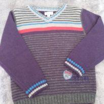 Casaco tricot listrado cinza e roxo - 2 anos - Ficcus