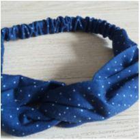 Faixa de cabelo/Tiara de pano azul poá -  - Feito à mão e Sem marca