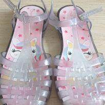Sandália transparente glitter unicórnio - 30 - Charmosinha Chic