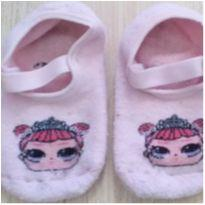 Meia sapatilha antiderrapante rosa - 3 anos - Sem marca