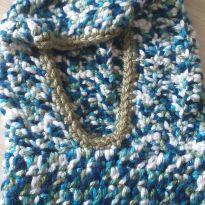 Capuz de frio em tricot maravilhoso azul e branco -  - Feito à mão e sem etiqueta