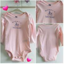 Body rosa 12 meses manga comprida - 1 ano - Carter`s