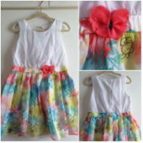 Vestido Alphabeto flores branco e colorido 3 anos - 3 anos - Alphabeto
