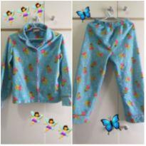 Conjunto de pijama manga comprida 6 anos azul fadas - 6 anos - Marca não registrada