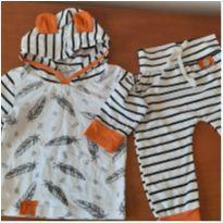 0692- conjunto calça e blusa - 6 a 9 meses - Sem marca
