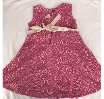 Vestido de renda pink - 18 meses - Arte Menor