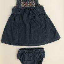 Vestido Jeans Flores Carters - 6 meses - Carter`s e Carters - Sem etiqueta