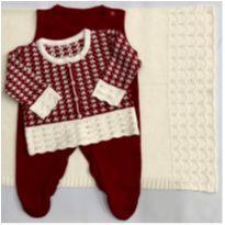 Saída de maternidade em tricô - Vermelha - Recém Nascido - Rubim Malhas