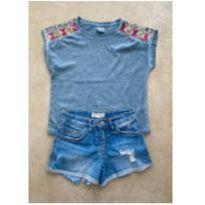 Kit Blusinha e Shorts jeans Zara - 6 anos - Zara