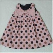 Vestido em veludo rosa e poá marrom Infantilândia - 12 a 18 meses - Infantilândia