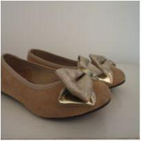 sapatilha molekinha dourada laço - 25 - Molekinha